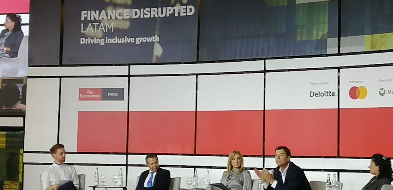 n el panel el poder de las Pymes, durante durante el primer Finance Disrupted LATAM organizado por The Economist.