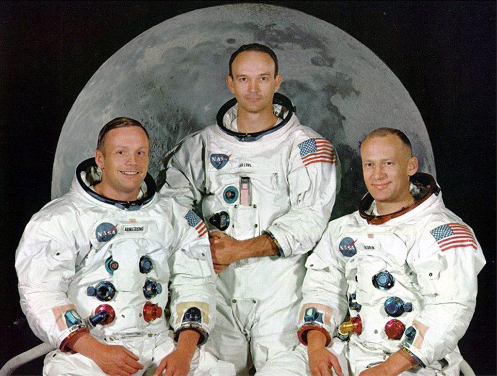 "Neil Armstrong, Michael Collins y Edward ""Buzz Aldrin"
